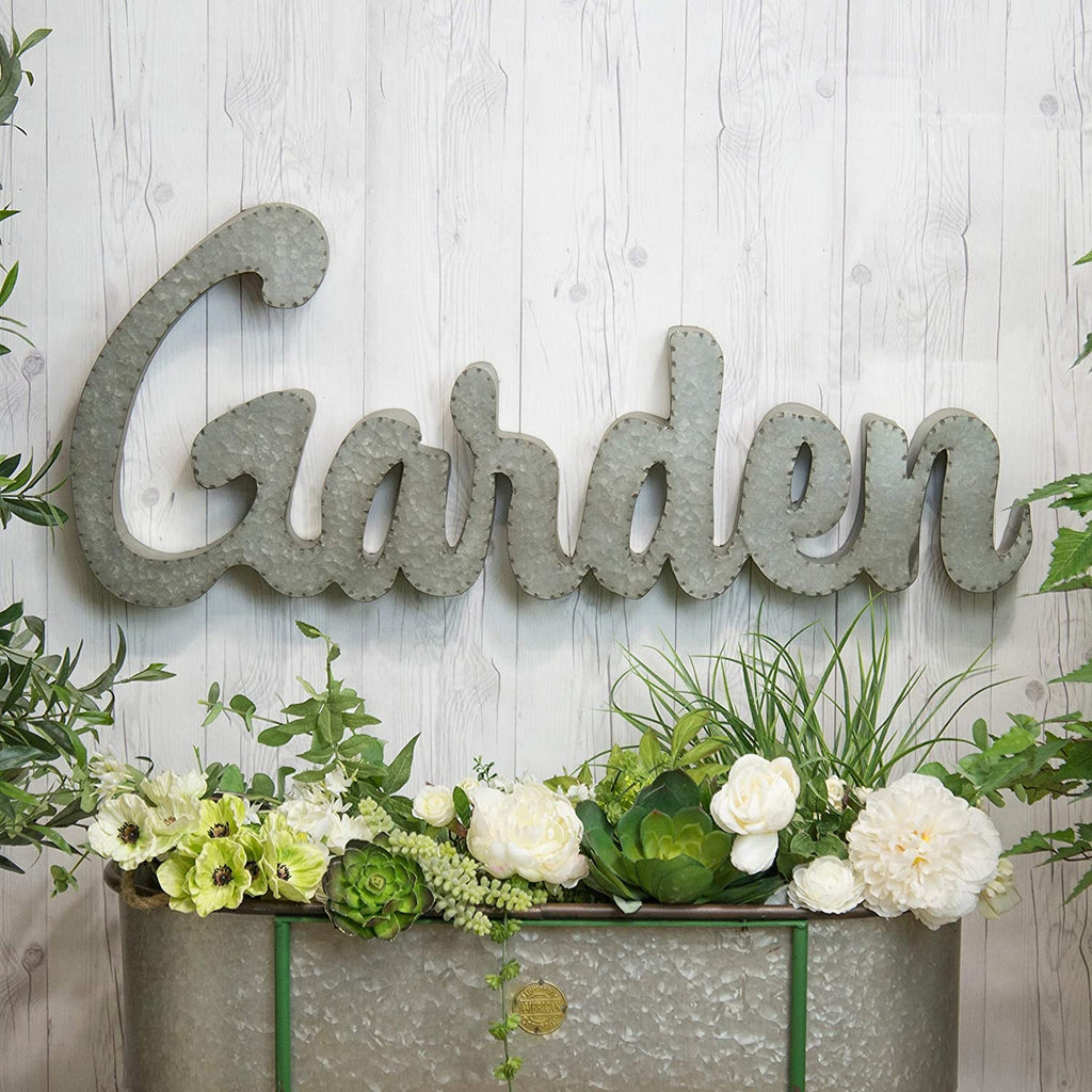 Galvanized Metal Garden Sign Silver Metal Natural Finish Handmade