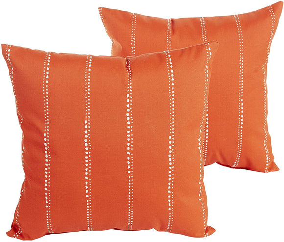 Orange Dotted Stripes Indoor/Outdoor 22 Inch Square Pillow Set Striped Modern Contemporary Transitional Polyester Fade Resistant Uv Water