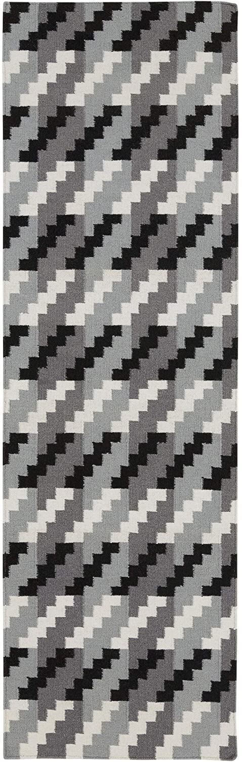 "Flatweave Abstract Runner Rug 2'6"" X 8' Grey Modern Contemporary Rectangle Wool Latex Free Handmade"