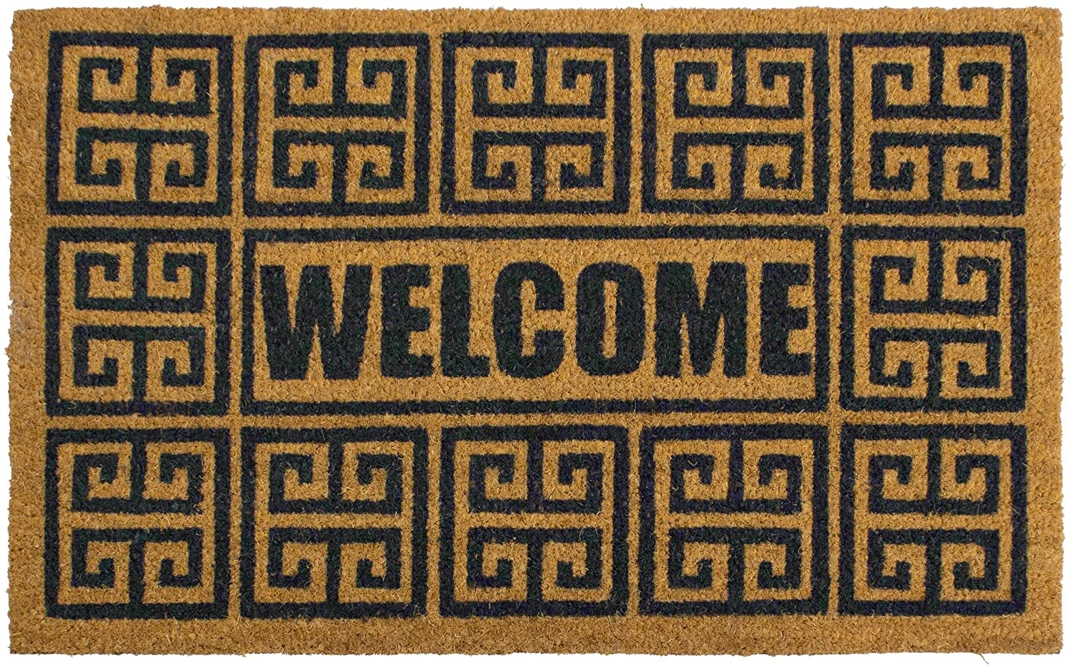 Stopper Greek Welcome 18x28 Indoor/Outdoor Coir Mat Black Modern Contemporary All Weather