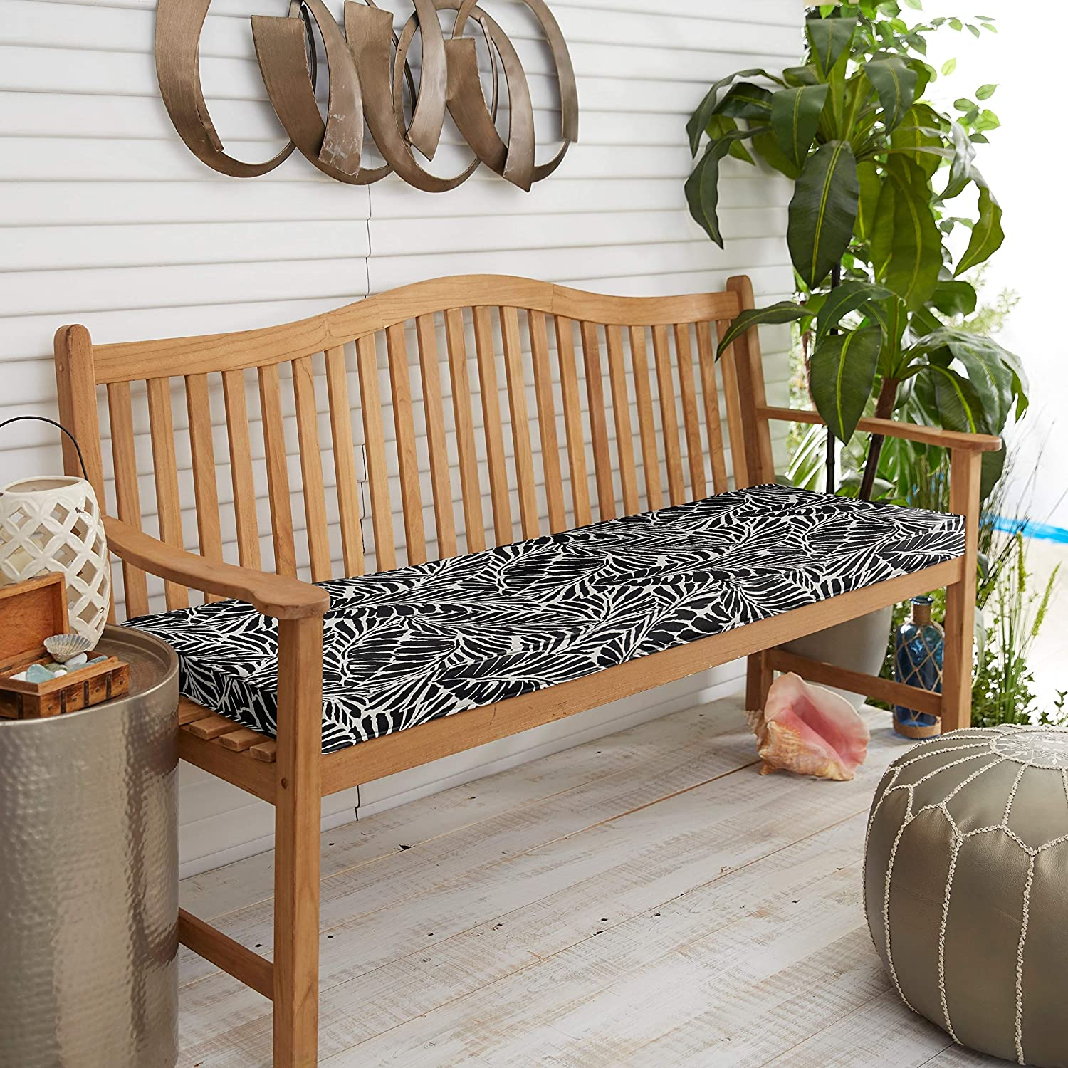 MISC Indoor/Outdoor Black Bench Cushion Geometric Polyester Fade Resistant Uv