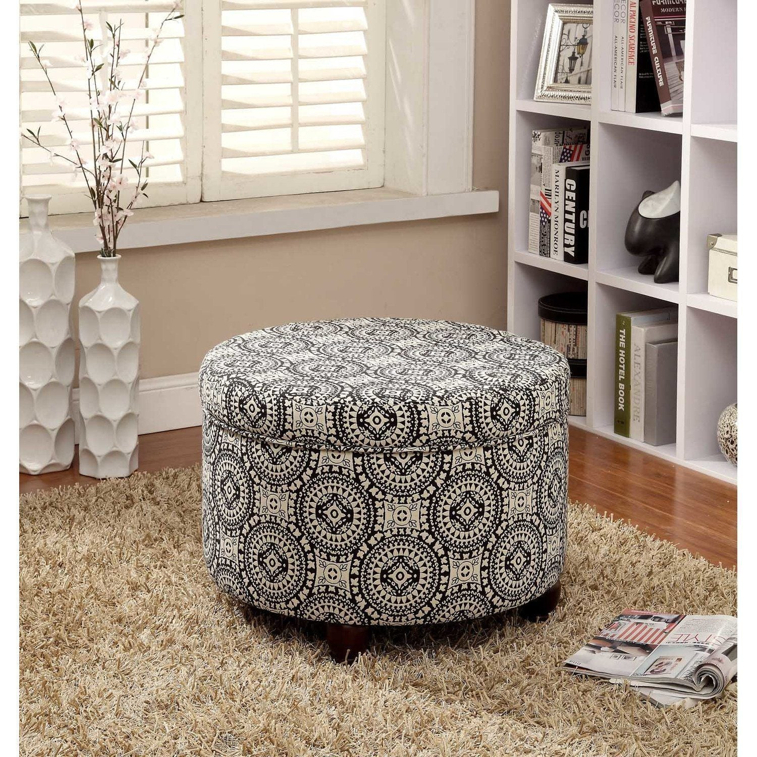 Round Storage Ottoman Medallion White Black Large Tufted Round Ottoman Features Medallion Sleek Contemporary Look White Black Medallion Round Ottoman