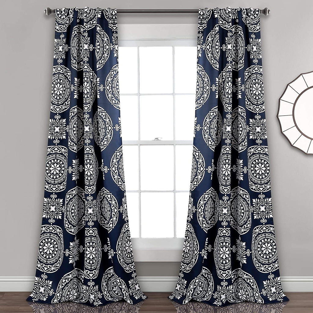 "Medallion Room Darkening Window Curtain Panel Pair 52"" w X 84"" l Blue Bohemian Eclectic Modern Contemporary Polyester"