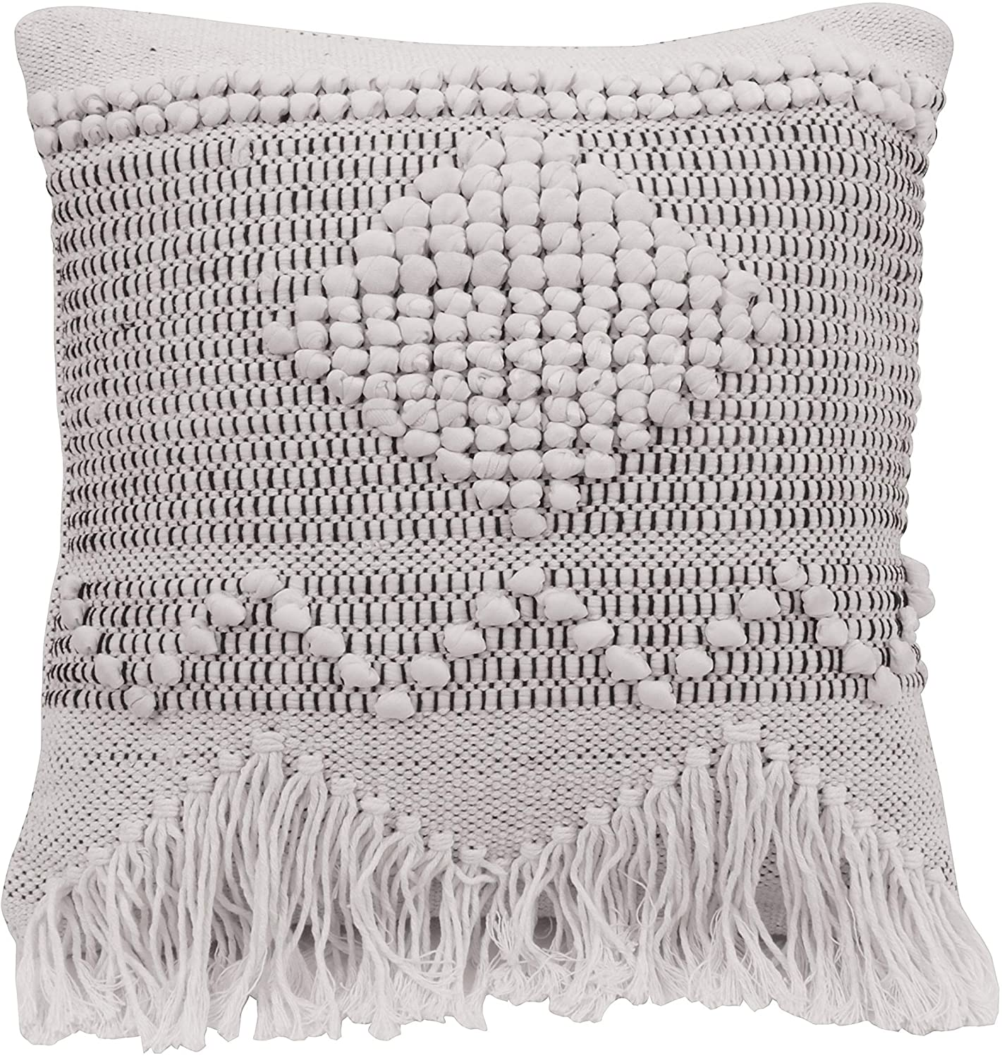 MISC Ivory Grey Square Textured Cotton Pillow Bohemian Eclectic Removable Cover