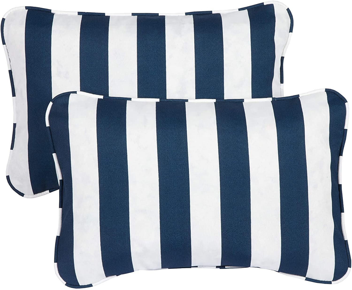Striped Navy Corded 13 X 20 Inch Indoor/Outdoor Throw Pillows (Set 2) Blue Modern Contemporary Traditional Transitional Polyester Fade Resistant Uv