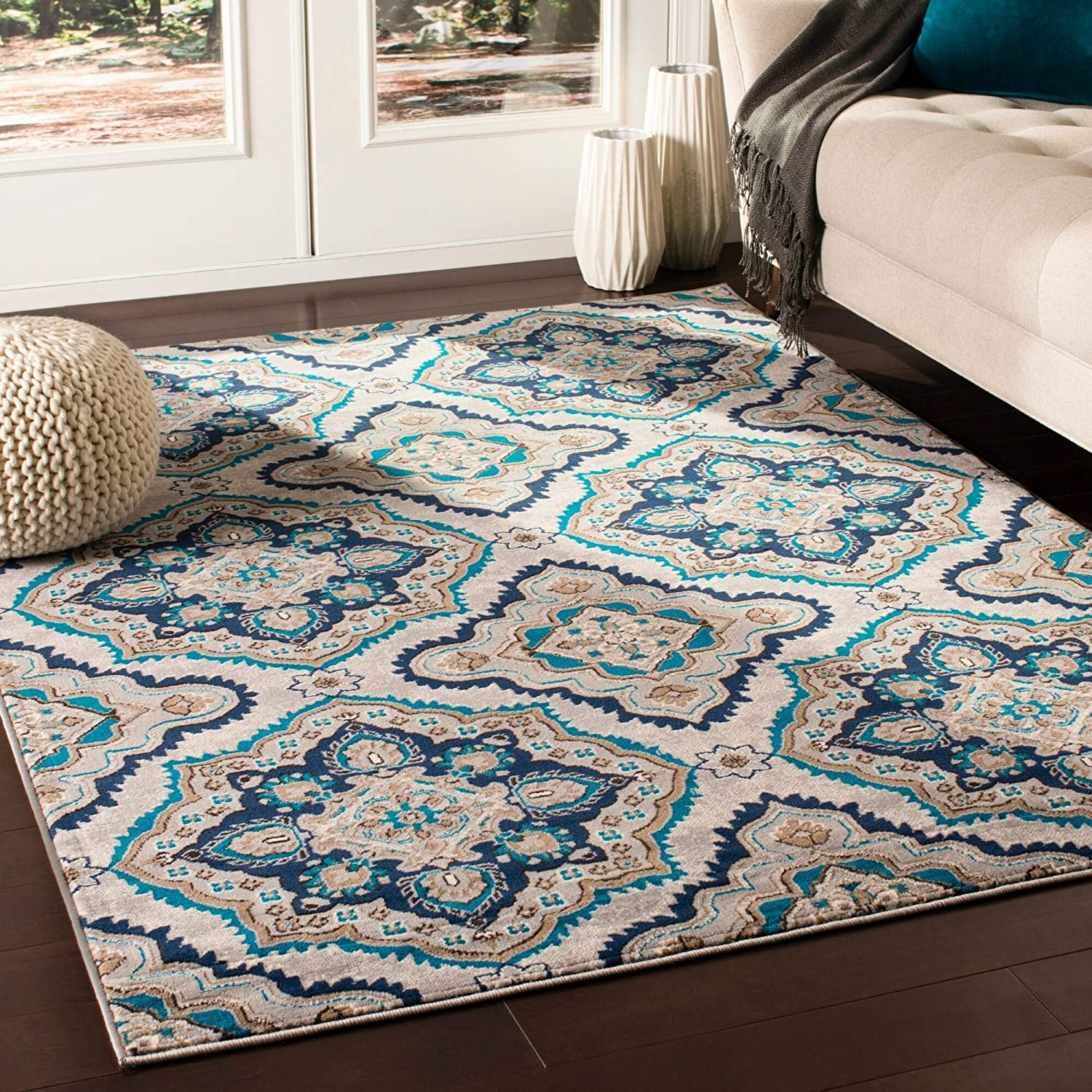 "MISC Transitional Camel Area Rug 5'3"" X 7'3"" Brown Polypropylene Synthetic Latex Free Pet Friendly Stain Resistant"