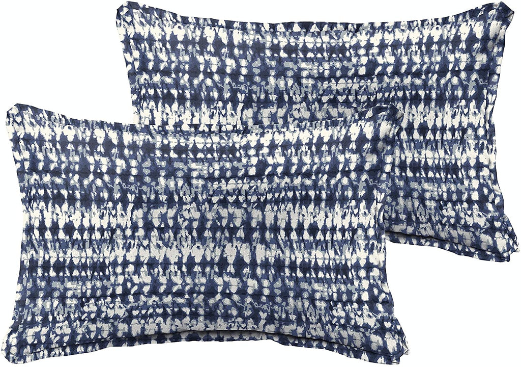 Graphic Indigo Navy Indoor/Outdoor 13 X 20 Inch Flange Pillow Set Blue Modern Contemporary Transitional Polyester Fade Resistant Made USA Uv Water
