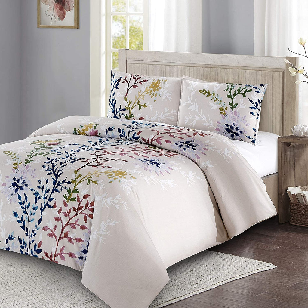 Quarters 3pc Duvet Cover Set Floral Stems White Leafy Silhouettes 100% Cotton King Floral Cotton 3 Piece