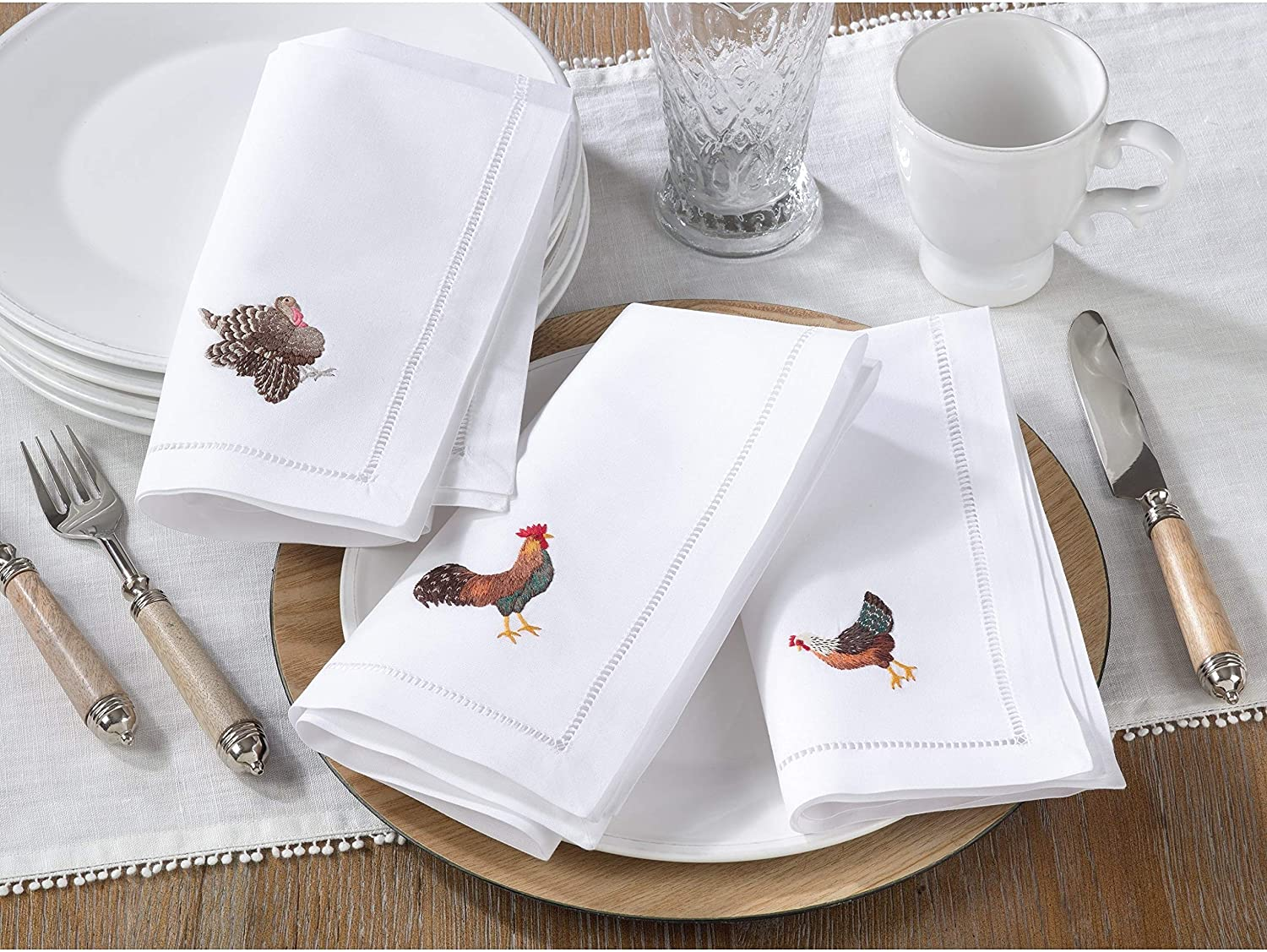 Cotton Table Napkins Embroidered Rooster Design (Set 6) White Solid Classic Modern Contemporary Novelty Square