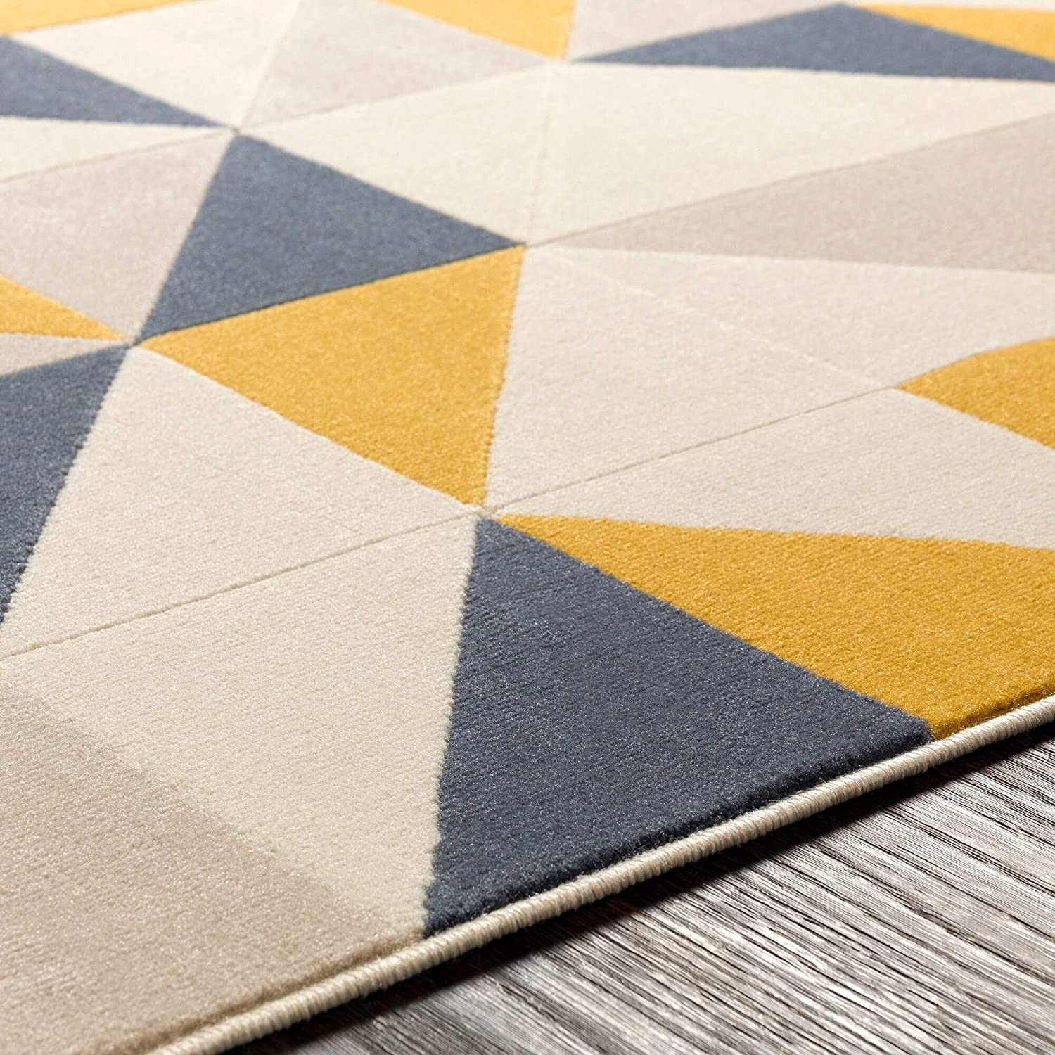 "Yellow Geometric Area Rug 5'3"" X 7'3"" Brown Grey Modern Contemporary Rectangle Polypropylene Latex Free"