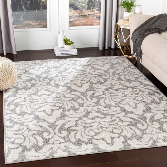 MISC Grey Transitional Damask Area Rug 7'10