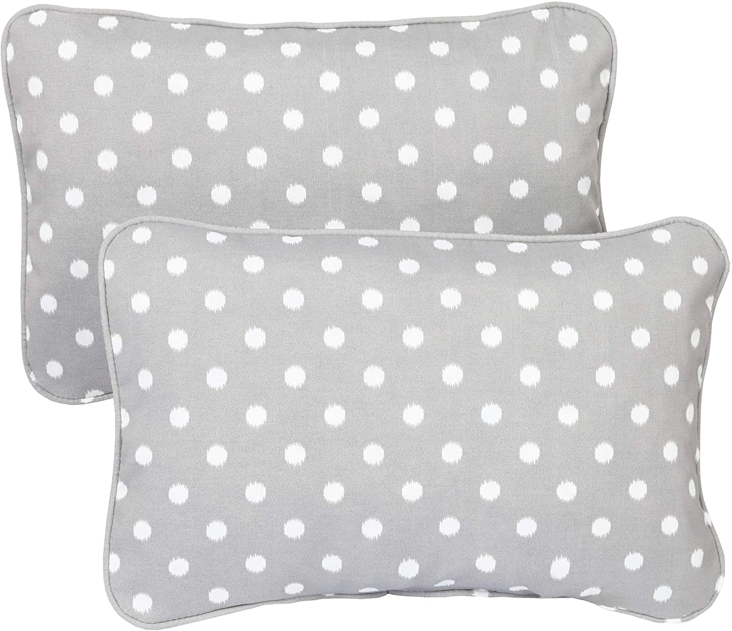 Grey Dots Corded 13 X 20 Inch Indoor/Outdoor Throw Pillows (Set 2) Polka Modern Contemporary Transitional Polyester Fade Resistant Uv Water
