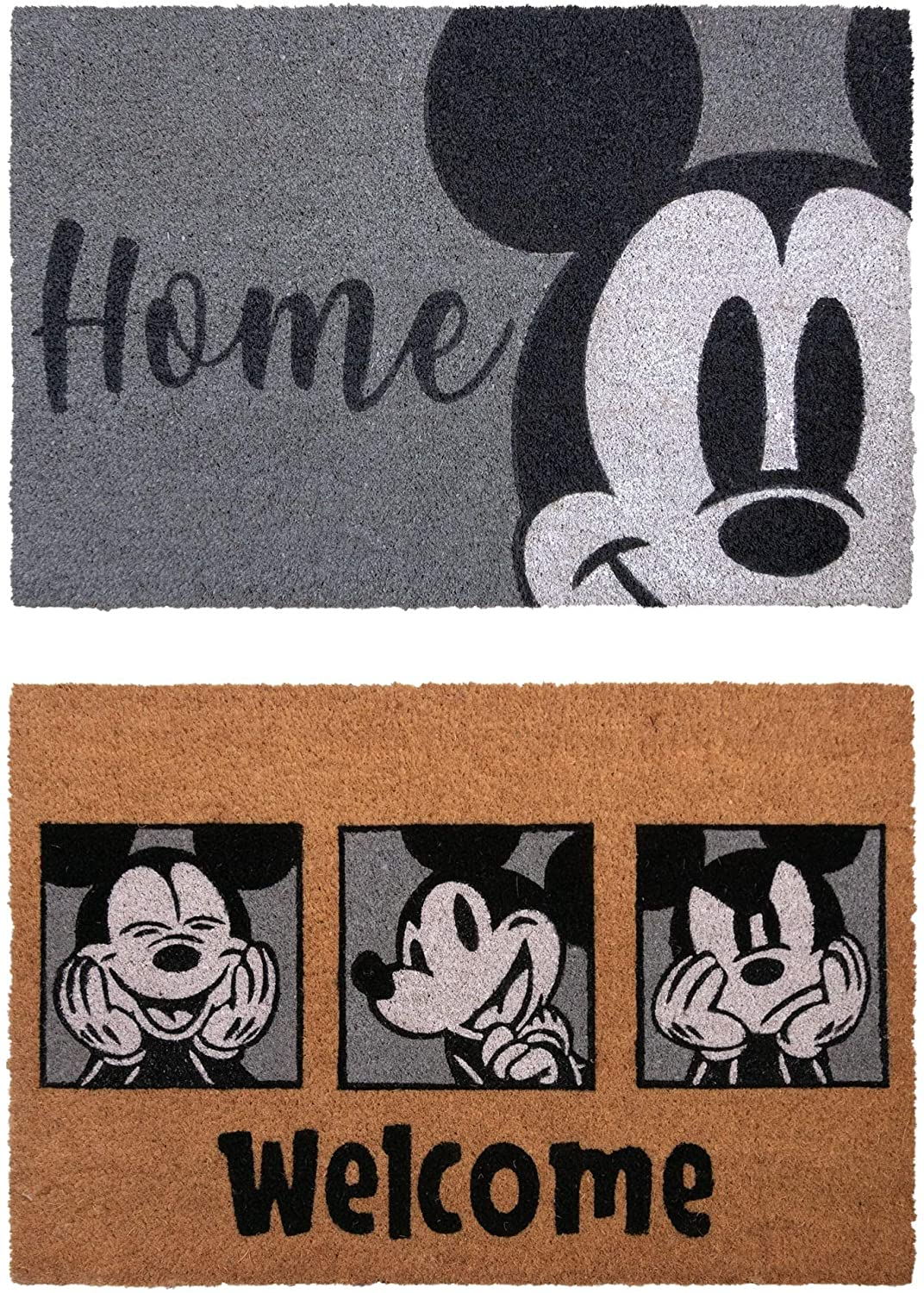 "Unknown1 Mickey Coir Gray 2 Pack Area Rug (1'16"" X 2'8"") 1'6"" 2'8"" Color Novelty Kids Tween Rectangle Latex Free"