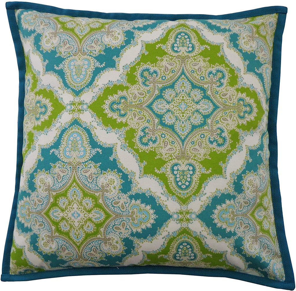"Handmade Turquoise Throw Pillow 20"" X Blue Polyester"