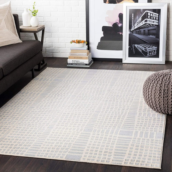 Light Grey Abstract Grid Area Rug 5'3