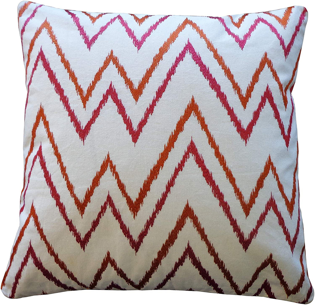 Handmade Rust Pink Throw Pillow Orange Purple White Cotton