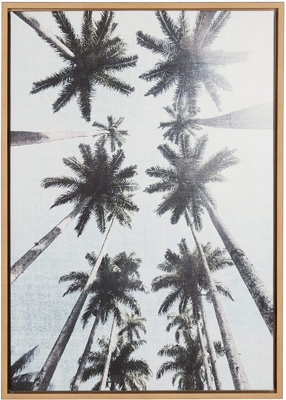 'Row Palm Trees' Natural Framed Canvas Wall Art Modern Contemporary Rectangle