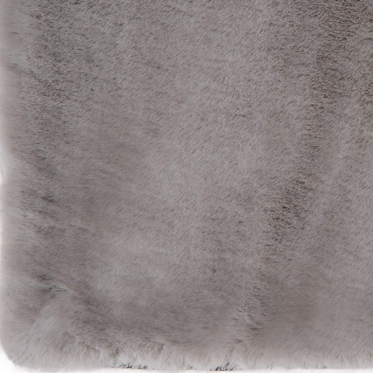 MISC Cloud Grey Faux Fur Area Rug 5' X 7' Solid Shag Polyester Contains Latex Stain Resistant