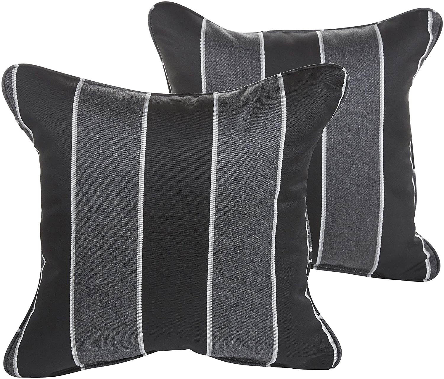 Granite Indoor/Outdoor 18 Inch Corded Pillow Set Black Grey Color Striped Modern Contemporary Traditional Transitional