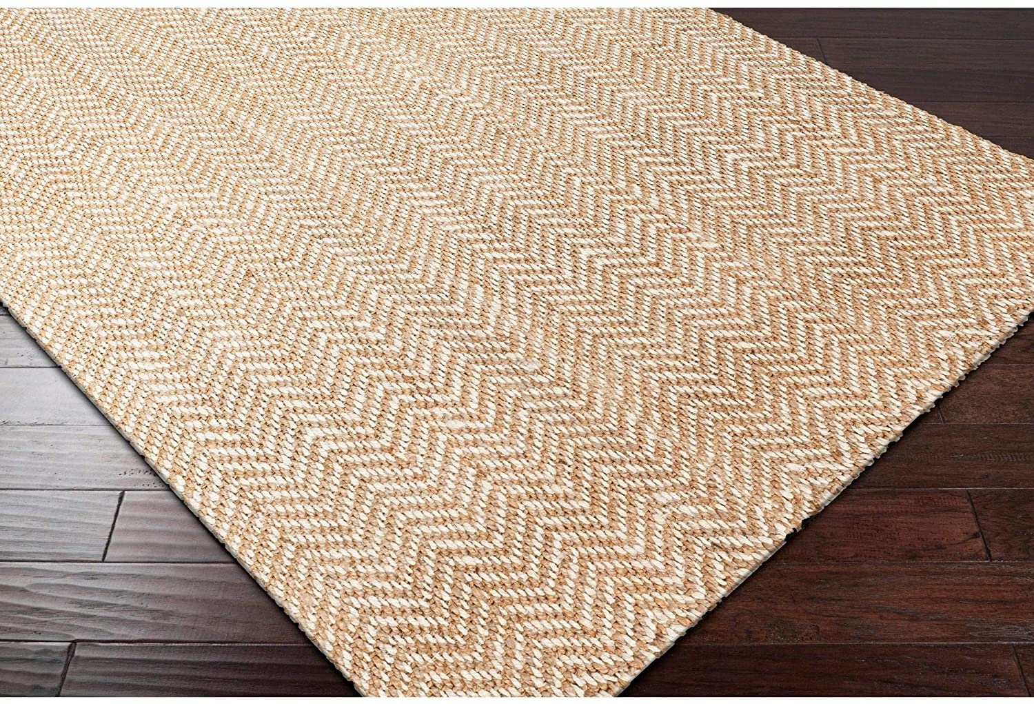 "Hand Woven Wheat Jute Tan Natural Fiber Chevron Area Rug 3'3"" X 5'3"" Brown White Geometric Casual Rectangle Organic Latex Free Handmade"