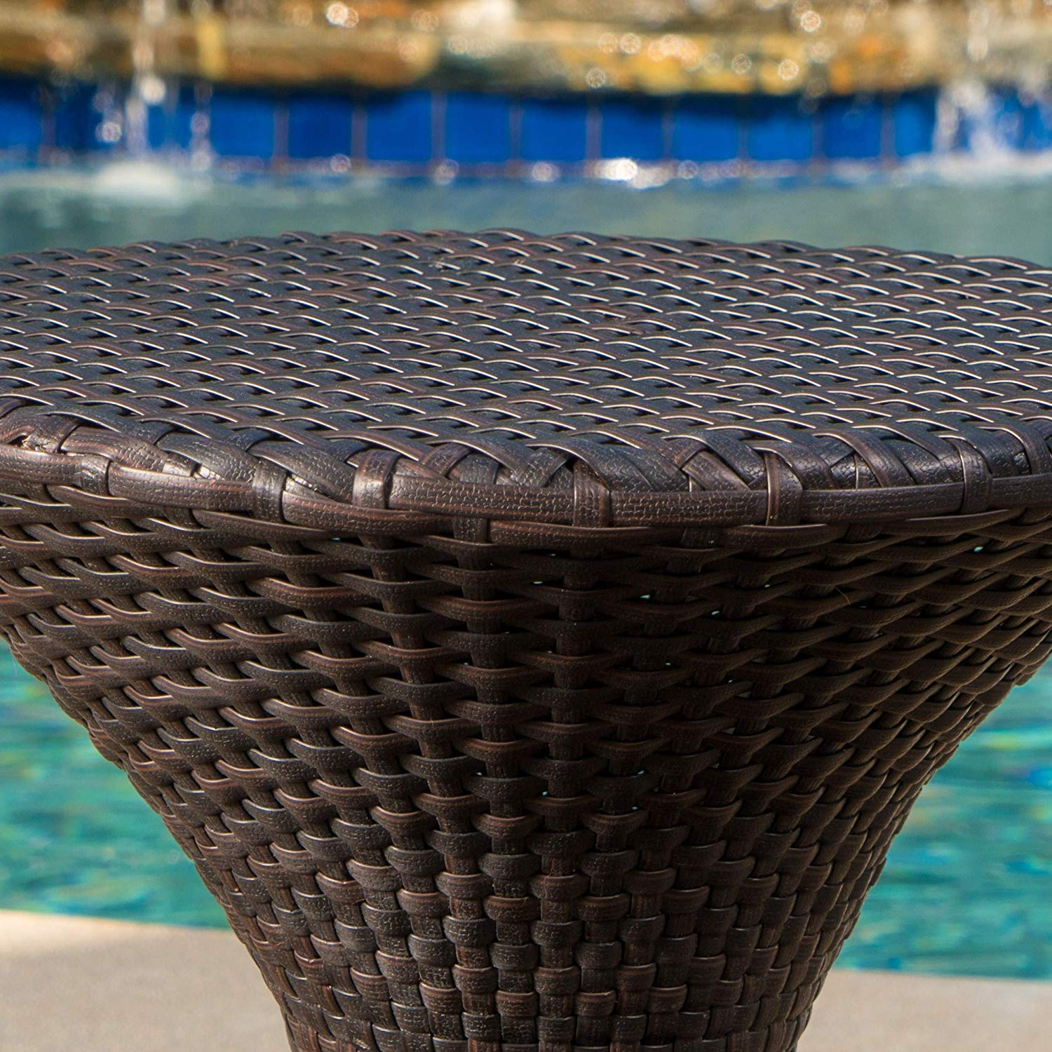 Modern Brown Wicker Hourglass Table End Poolside Patio Outdoor Drink Holder Round