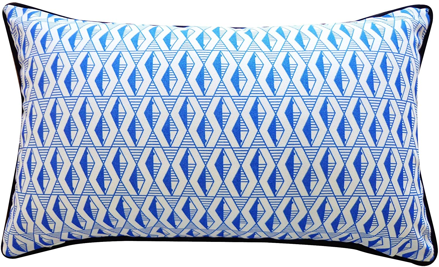 Handmade Geo Fish Blue Pillow Black Grey White Geometric Polyester