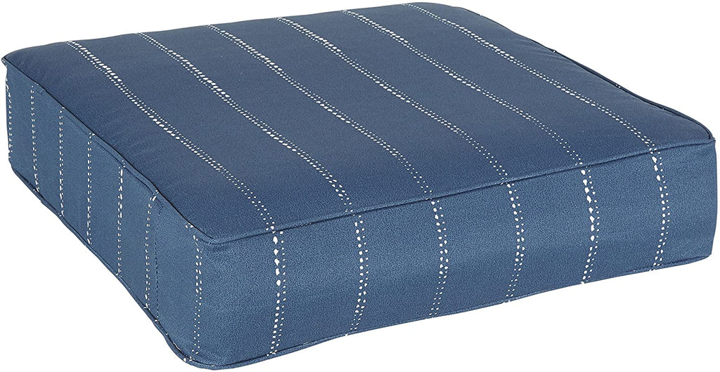 Navy Dotted Stripes Indoor/Outdoor Corded 22 5 Inch Square Cushion Blue Striped Modern Contemporary Transitional Polyester Fade Resistant Uv Water