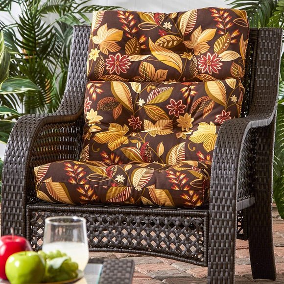 3 Section Outdoor Woodsy Floral High Back Chair Cushion Brown Red Yellow Traditional Transitional Fabric Polyester Fade Resistant Uv Water