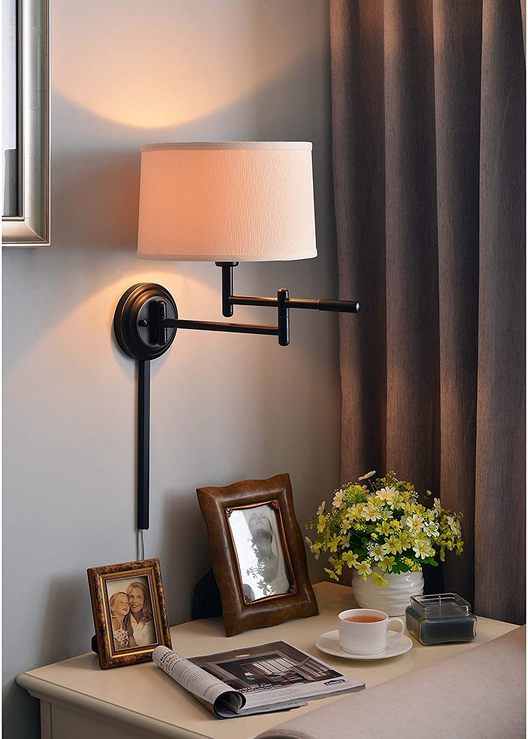 1 Light Copper Bronze Swing Arm Wall Lamp Brown Modern Contemporary Metal Adjustable