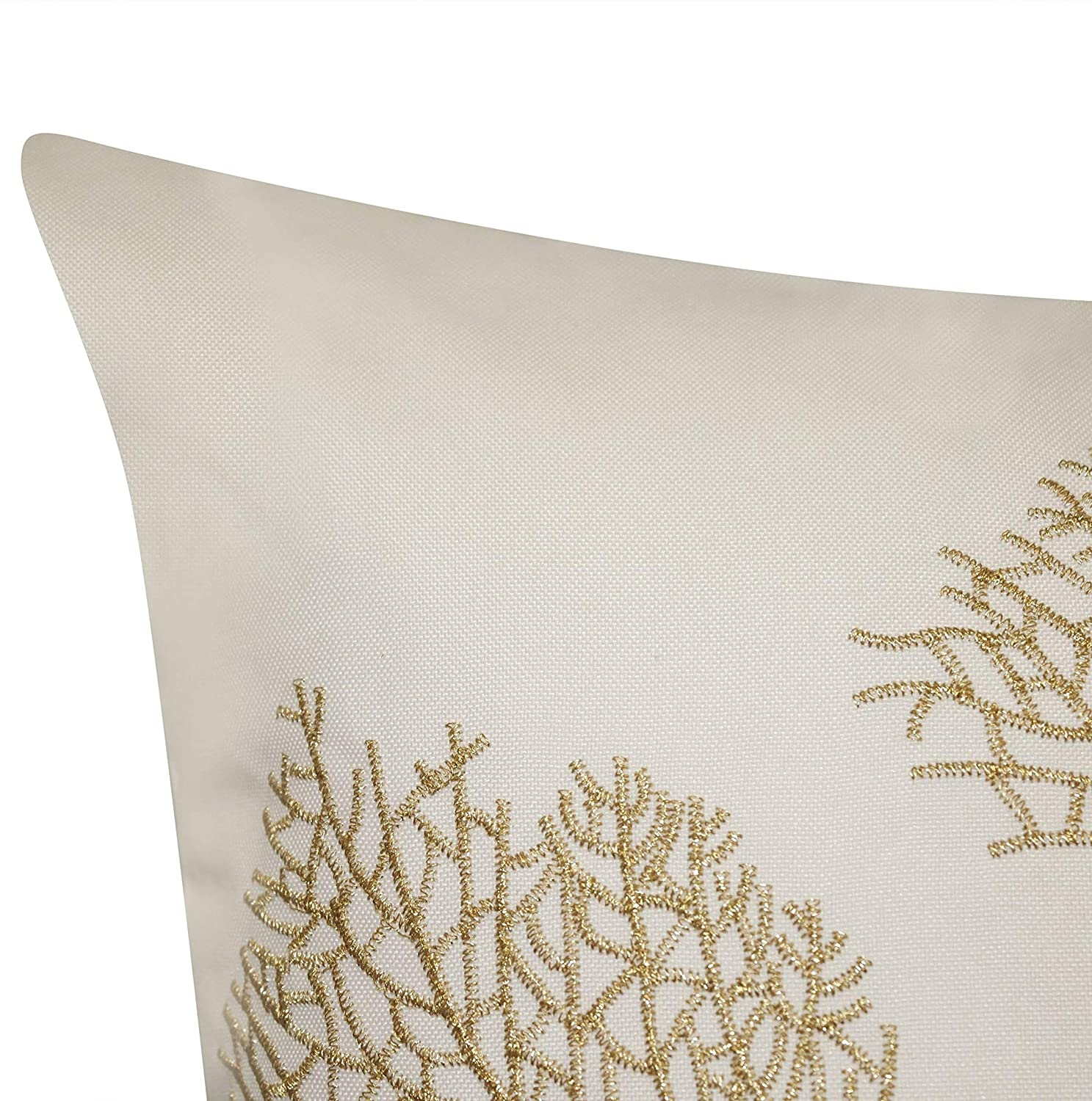 MISC Embroidered Printed Coral Outdoor Pillow Cream Nature Nautical Coastal Polyester