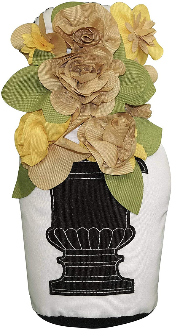 MISC Outdoor Potted Topiary Door Stopper Gold Floral Farmhouse Polyester