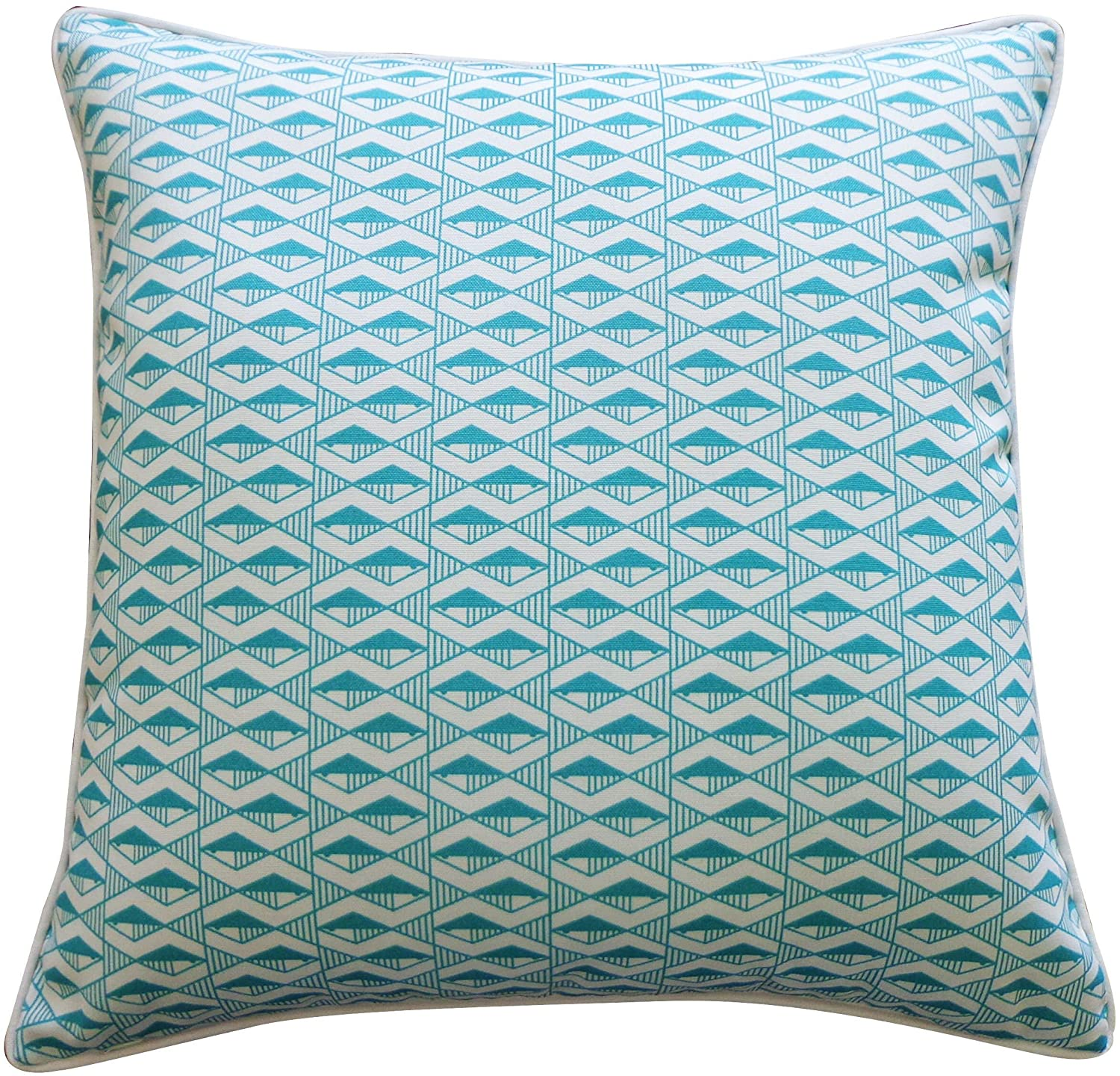 Handmade Geo Fish Teal Pillow Blue Polyester