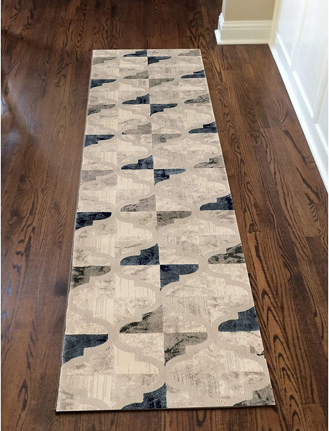 "Area Rug 2'2"" X 7'7"" Runner Ivory Geometric Classic Modern Contemporary Patterned Polypropylene Contains Latex"