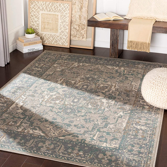 MISC Charcoal/Beige Traditional Area Rug 7'10