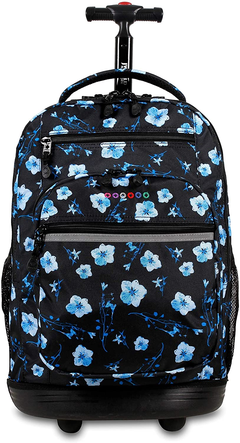 New York Sundance 20 inch Laptop Rolling Backpack Fits Up 16 inch Black Floral Polyester Compartment Adjustable Strap