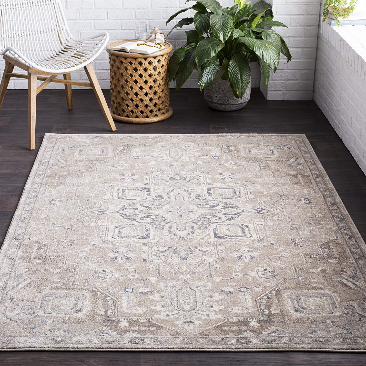 "MISC Classic Oriental Area Rug 2'7"" X 7'7"" Runner Brown Polypropylene Synthetic Latex Free Pet Friendly Stain Resistant"