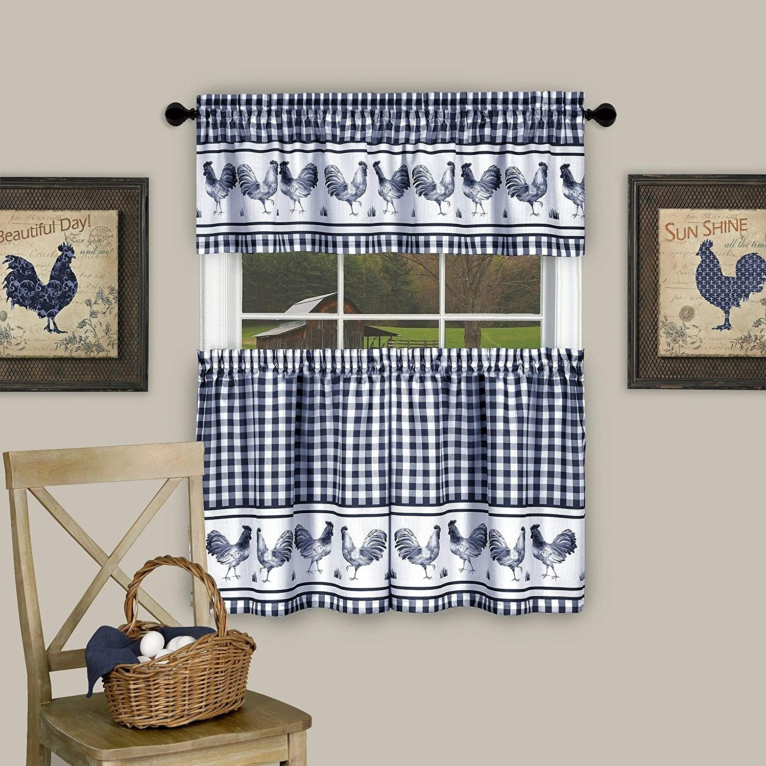 "Barnyard Buffalo Check Rooster Tier Valance Curtain Set 36"" Navy 36 Inch Farmhouse 100% Polyester"