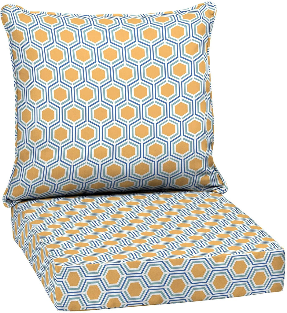 Honeycomb Outdoor 24 Conversation Set Cushion Yellow Geometric Polyester Fade Resistant Uv Water