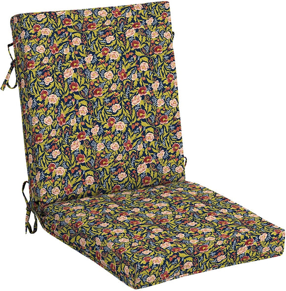Floral High Back Chair Blue Transitional Polyester