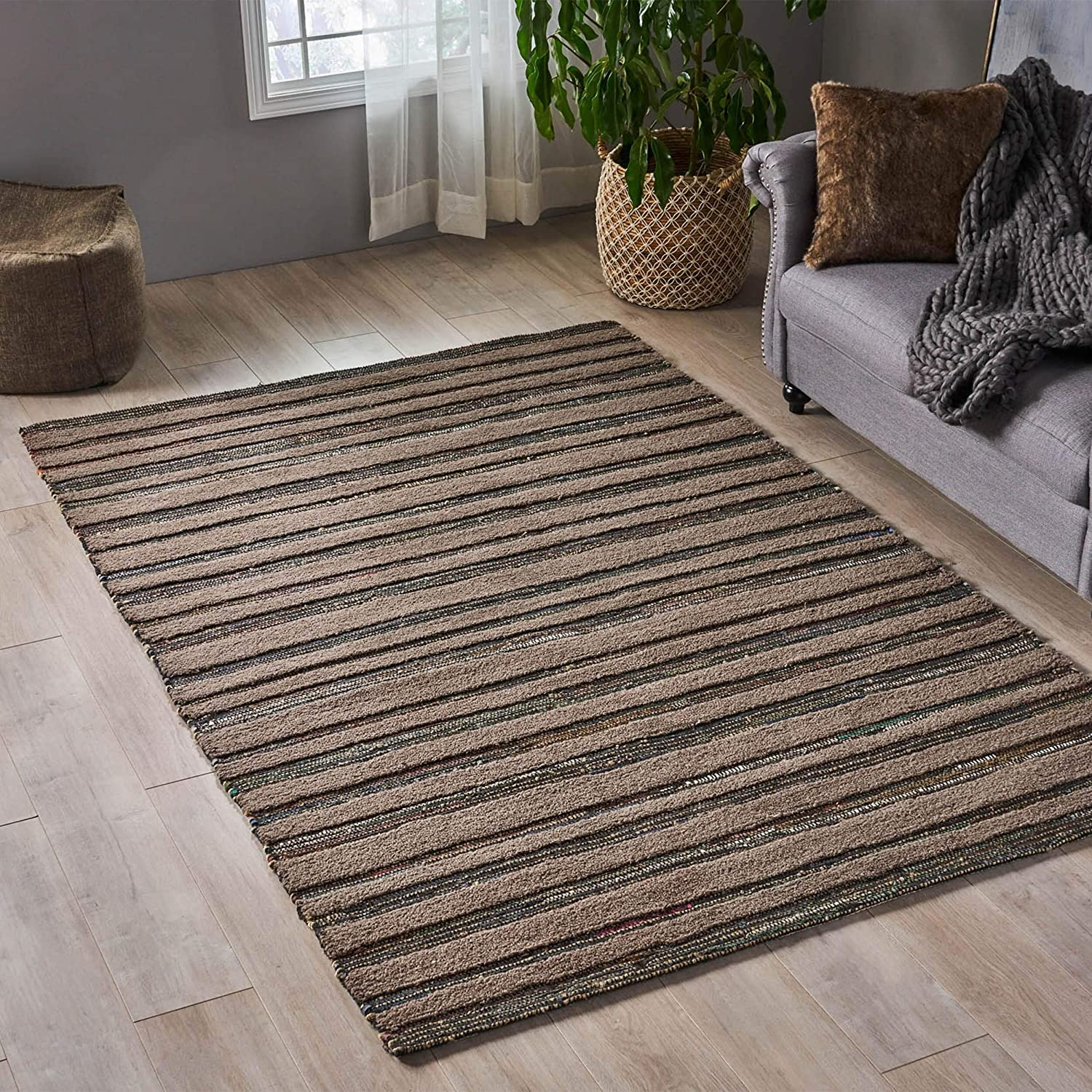 Boho Leather Wool Area Rug 5' X 8' Brown Color Stripe Modern Contemporary Hemp Latex Free Handmade