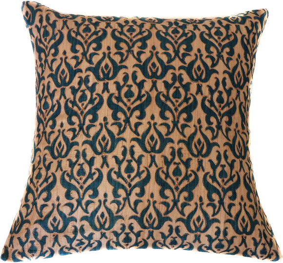 Handmade Blue Linen Sqaure Accent Pillow Cream Embroidered