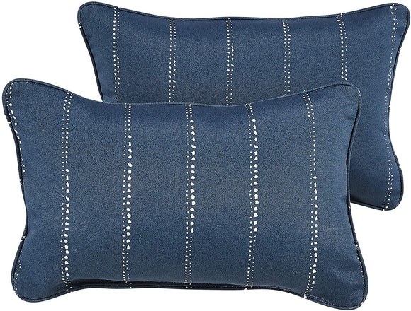 Navy Dotted Stripes Indoor/Outdoor 13 X 20 Inch Corded Pillow Set Blue Striped Modern Contemporary Transitional Polyester Fade Resistant Uv Water