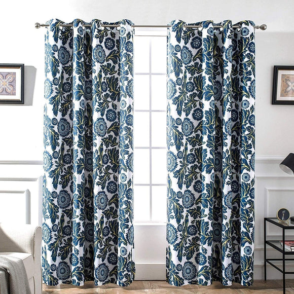 MISC Floral Bird Thermal Lined Blackout Curtain Panel Pair 52 X 84 Navy Polyester