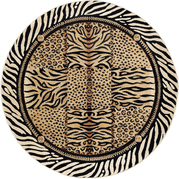 Wild Animal Circular Rug Exotic Safari Animals Zebra Tiger Cheetah Leopard Prints 5ft Round Area Rug Modern Indoor Circle Floor Mat Black White