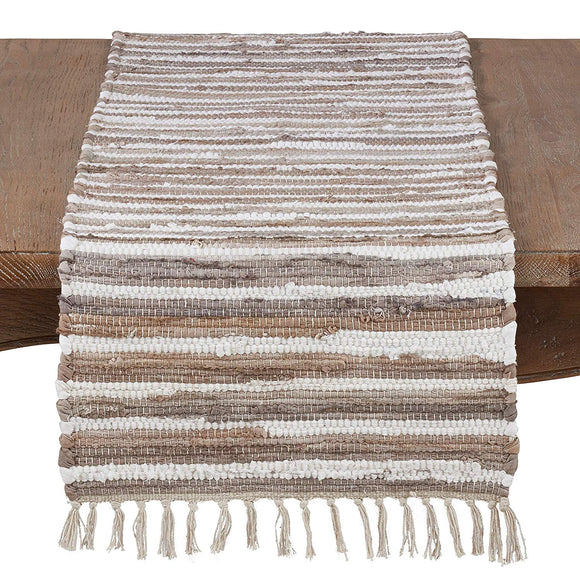 Rag Table Runner Tassels Beige Tan White Striped Cotton Rags Fringed Long Chindi Dining Table Runners Cloth Protector Rustic Farmhouse Cottage