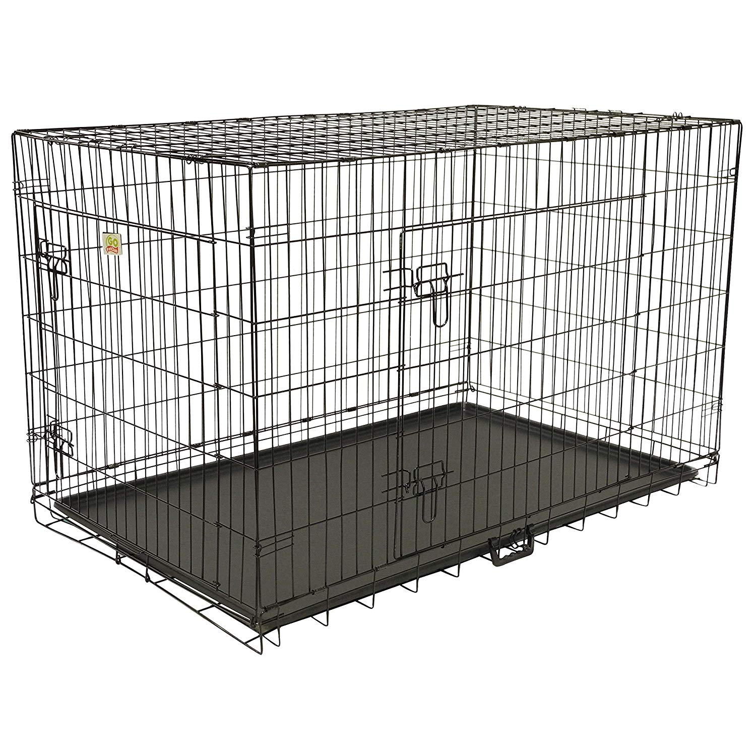 48 Inch Dog Crate 2 Doors Kennel Collapsible Dog Cage Large Dogs Double Doors Metal Divider Folding Portable Strong Black