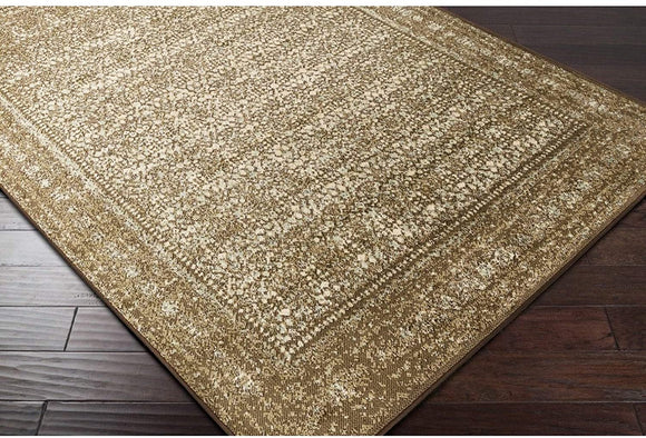 MISC Area Rug 2' X 3' Brown Grey Border Oriental Industrial Rectangle Polypropylene Synthetic Latex Free Pet Friendly Stain Resistant