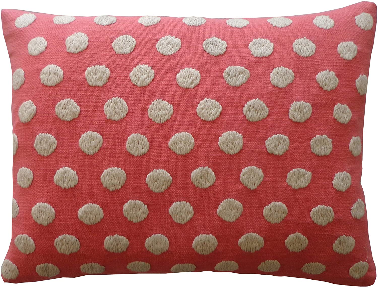 Handmade Puff Coral Pink Polka dot Cotton Accent Pillow White