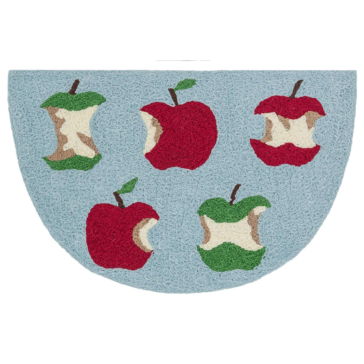 Childrens Semicircle Rug Apple Theme Food Fruit Half Circle Hearth Rug Green Red Apples Eaten Nature Blue Semi Circle Mat Half Moon Indoor Kids