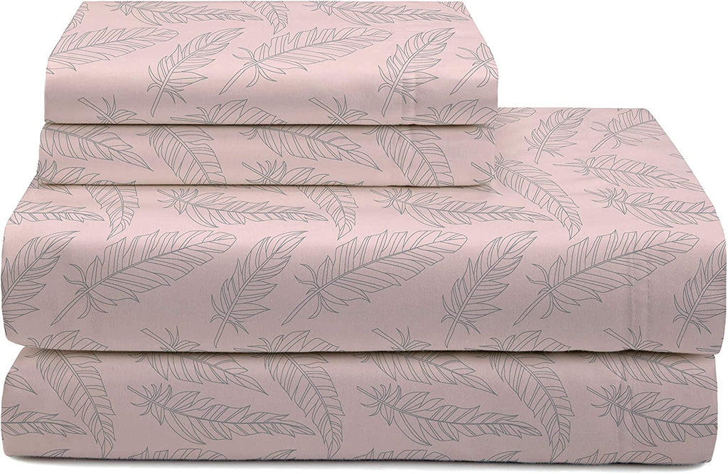 Feather Pattern Flannel Sheet Set Pink Motif Designer Cotton Stain Resistant